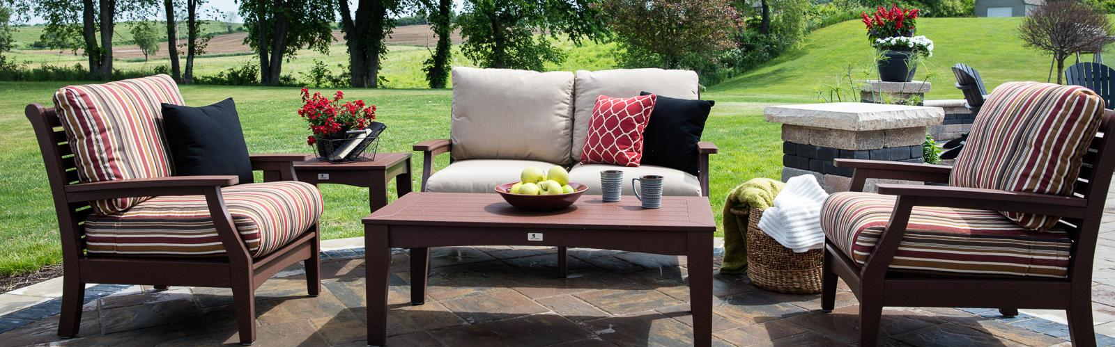 Collection sofa love seat chair ottoman coffee table end table - Classic Terrace Millers Mini Barns