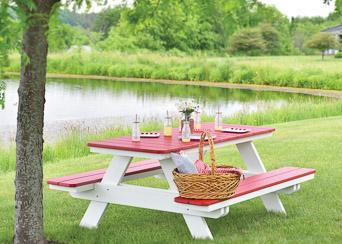 Picnic outdoor garden red table