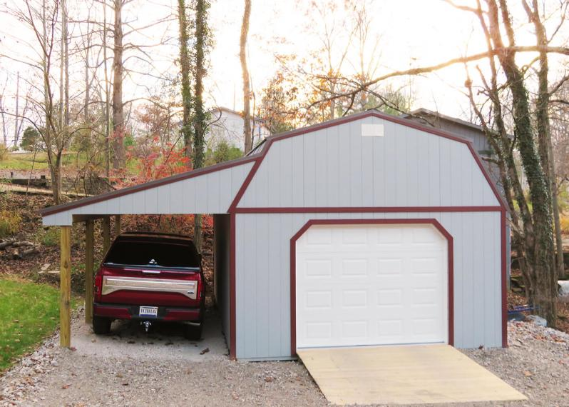 16 x 24 8' Sidewall Barn Zook Gray siding, Red trim, Charcoal metal roof - Shown with 9 x 7 garage door, optional ramp and 9' lean-to
