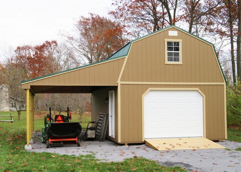 16 x 24 Two-Story Garage Quaker Tan siding, Basswood trim, Forest Green metal roof - Shown with 9 x 7 garage door, optional ramp and 12' lean-to