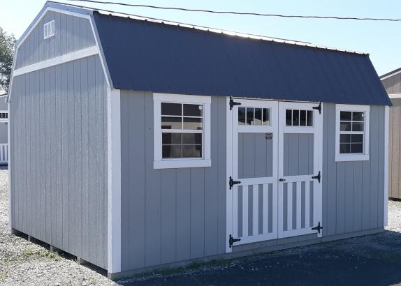 Model 7913 Zook Gray with White trim Lofted Garden shed