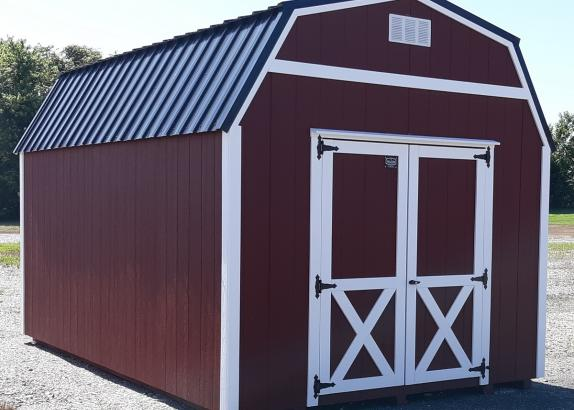 Model 8635 10x16 Red with White trim Lofted Barn