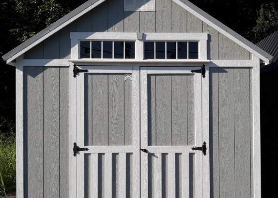 Model 7549 10x12 Zook Gray with White trim Classic A-frame shed
