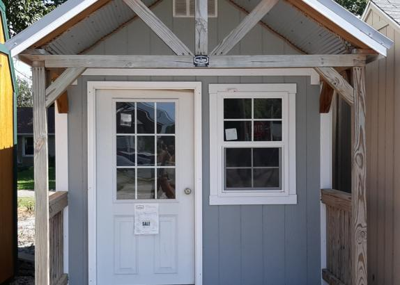 Model 7041 8x16 Zook Gray with White trim Classic A-frame Open End Cabin