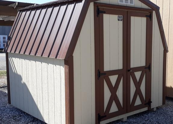 Model 7918 8x8 Black Bear Beige with Chestnut trim shed with 4' walls