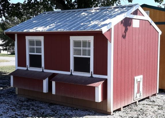 Model 8014 10x12 Red with White trim Chicken Coop