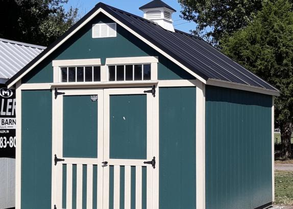 Model 6230 10x12 Green with Black Bear Beige trim Classic A-Frame shed