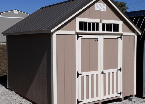 Model 8115 10x12 Buckskin with Navajo White trim Classic A-Frame shed
