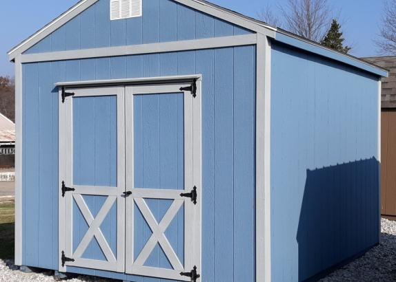 Model 6342 10x12 Wedgewood Blue with Zook Gray trim A-Frame Shed