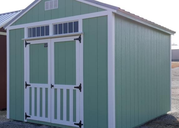 Model 8907 10x12 Nature Green with White trim A-Frame Shed