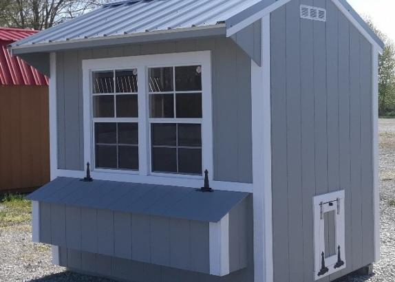 Model 9014, Chicken Coop, 6 by 8 Light Gray with White trim and Old Town Grey Metal Roof