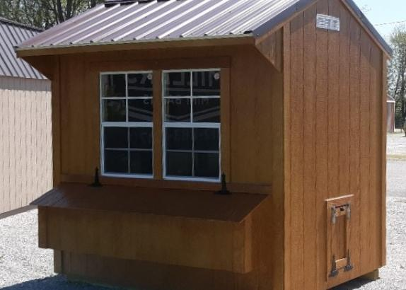 Model 9013, Chicken Coop, 6 by 8, Honey Gold siding and trim with Cocoa Brown Metal Roof
