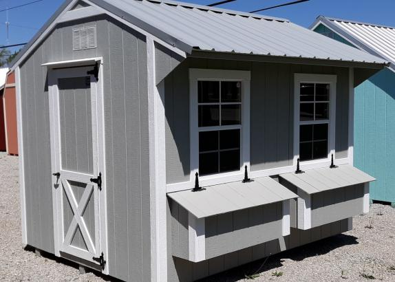Model 9019 8x10 Zook Gray with White Trim & Old Town Gray Metal Roof Chicken Coop