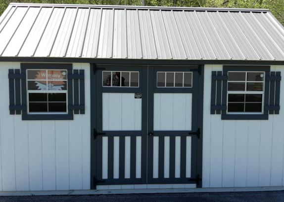 Model 7865 10x16 White with Dark Gray Trim & Charcoal Metal Roof Classic Cottage