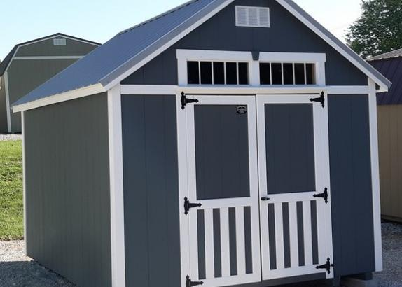 Model 8994 10 x 12 Dark Gray siding with White Trim & Old Town Grey Metal Roof