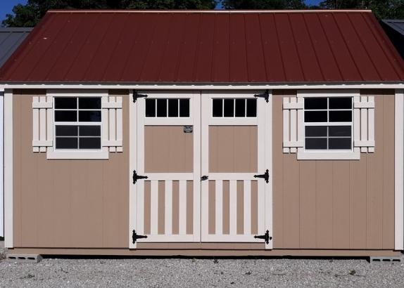 Model 8487 12 x 16 Basswood with Navajo White Trim & Copper Penny Metal Roof
