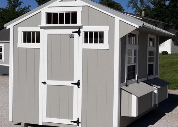 Model 9018 8x10 Zook Grey with White Trim & Old Town Grey Metal Roof Chicken Coop