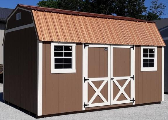 Model 9035 10x16 Quaker Tan with Navajo White Trim & Copper Penny Metal Roof Lofted Garden Shed