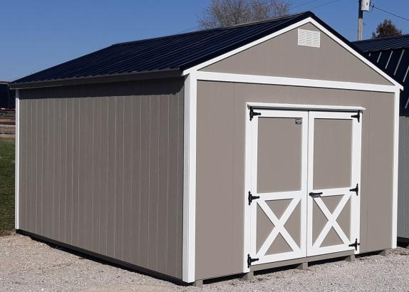 Model 9478 12x16 Clay with White Trim & Black Metal Roof A-Frame Shed