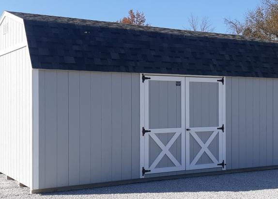Model 9388 12x20 Light Grey with White Trim & Grey Shingle Roof Lofted Garden Shed