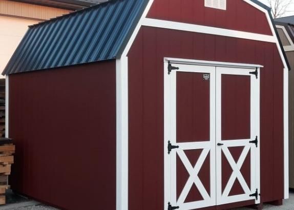 Model 9561 10x12 Red with White Trim & Black Metal Roof Lofted Barn
