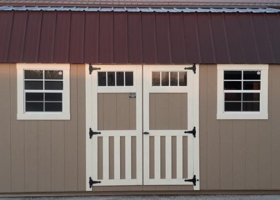 Model 9580 10x16 Buckskin with Navajo White Trim & Cocoa Brown Metal Roof Lofted Garden Shed