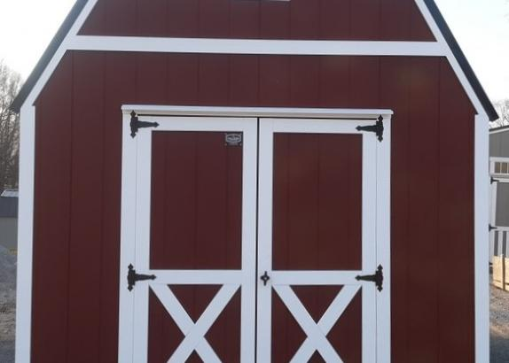 Model 9568 10x16 Red with White Trim & Black Metal Roof Lofted Barn