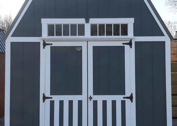 Model 9548 10x12 Dark Grey with White Trim & Charcoal Metal Roof Lofted Barn