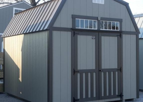 Model 9554 10x12 Clay with Burnished Slate Trim & Burnished Slate Metal Roof Lofted Barn
