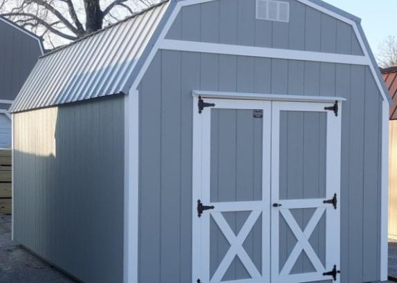 Model 9570 10x16 Zook Grey with White Trim & Old Town Grey Metal Roof Lofted Barn