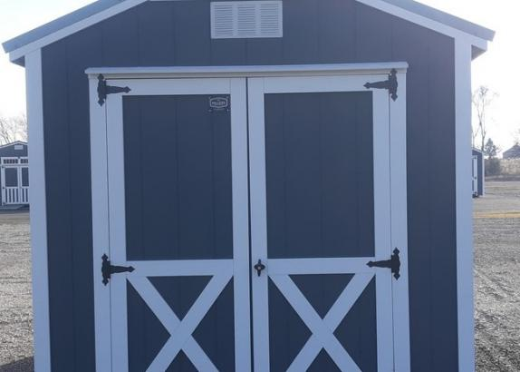 Model 9524 8x12 Dark Grey with White Trim & Old Town Grey Metal Roof A-Frame Shed