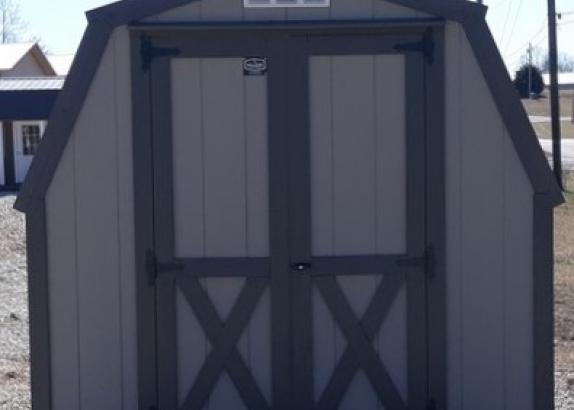 Model 9441 8x12 Clay with Burnished Slate Trim & Burnished Slate Metal Roof 4' Sidewall Shed