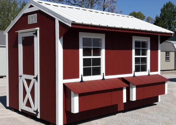 Model 9727 8x12 Red with White Trim & White Metal Roof Chicken Coop