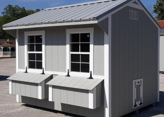 Model 9730 8x12 Zook Grey with White Trim & Old Town Grey Metal Roof Chicken Coop
