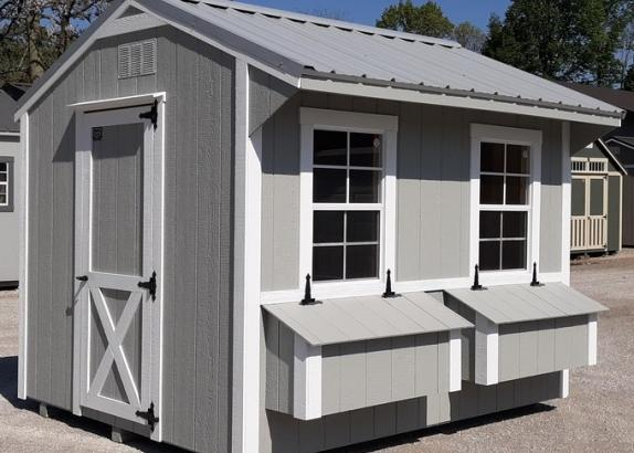 Model 9718 8x10 Zook Grey with White Trim & Old Town Grey Metal Roof Chicken Coop