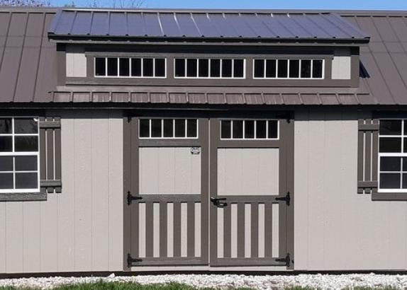 Model 9621 12x24 Clay with Burnished Slate Trim & Burnished Slate Metal Roof Classic Cottage