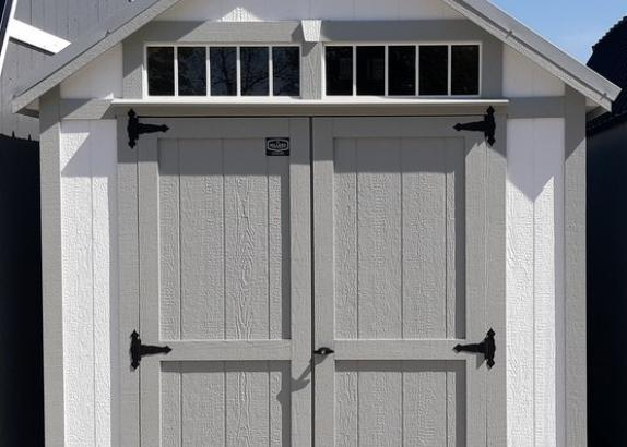 Model 9831 8x12 White with Light Gray Trim & Metal Old Town Grey Roof A-Frame Shed