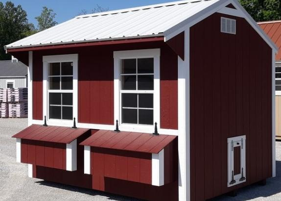 Model 9719 8x10 Red with White Trim & White Metal Roof Chicken Coop