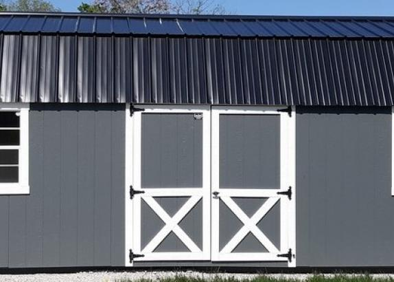 Model 9655 12x32 Dark Grey with White Trim & Black Metal Roof Lofted Garden Shed
