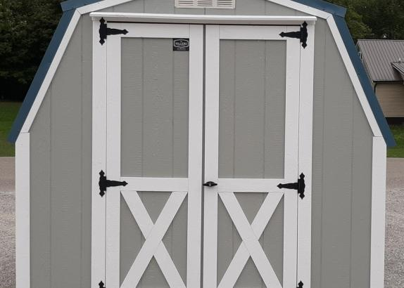 Model 9912 Light Gray with White Trim & Hawaiian Blue Metal Roof Shed