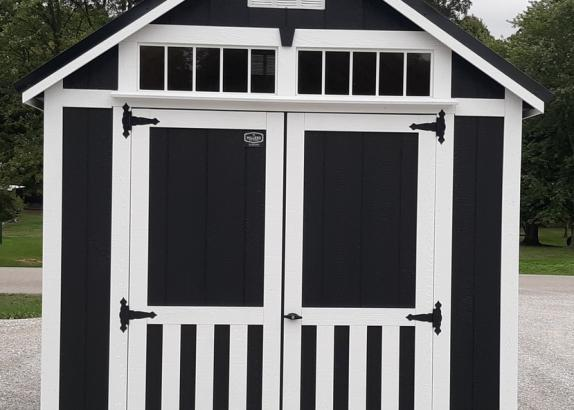 Model 9913 Black with White Trim & Black Metal Roof Classic A-Frame Shed