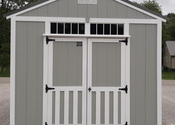 Model 9917 Zook Gray with White Trim & Charcoal Metal Roof A-Frame Shed