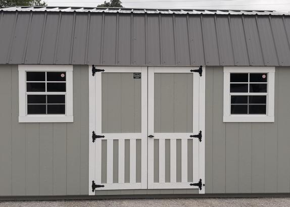 Model 9918 Zook Gray with White Trim & Charcoal Metal Roof Lofted Garden Shed