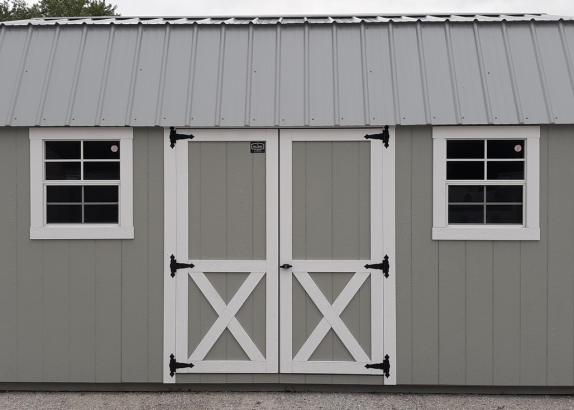 Model 9919 Zook Gray with White Trim & Light Gray Metal Roof Lofted Garden Shed