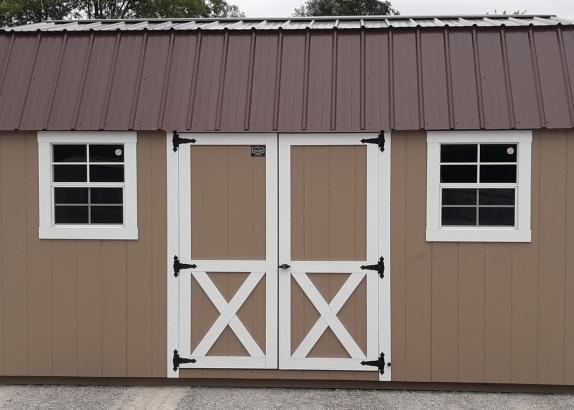 Model 9920 Buckskin with White Trim & Cocoa Brown Metal Roof Lofted Garden Shed