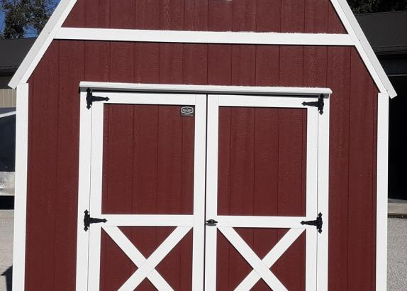 Model 9972 Red with White Trim & White Metal Roof Lofted Barn
