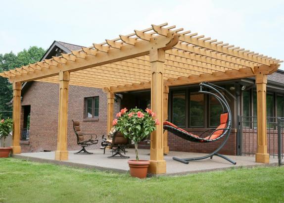 The outback wood pergola kits millers mini barns - Como construir una pergola de madera ...