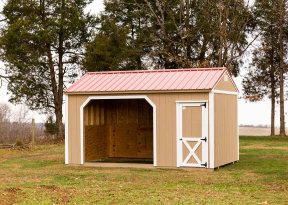 Horse barns run in sheds millers mini barns for Mini barn shed