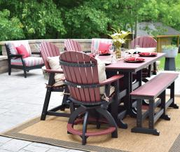 Garden classic 44x72 inch table with outdoor patio dining bench and comfo back chairs