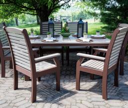 Homestead 44x72 inch table with classic terrace dining chairs